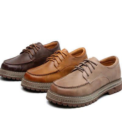 Autumn new casual leather platform handmade shoes