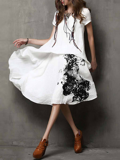 Vintage Floral Asymmetric Short Sleeve V-Neck Linen & Cotton Dresses