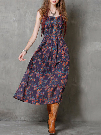 Bohemian Spaghetti Floral Pleated Buttons Square Collar Maxi Dresses