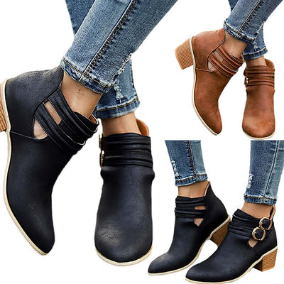 2019 autumn and winter new pointed thick heel belt buckle Martin boots