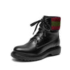 New leather British wind plus velvet lace round head women's tube boots