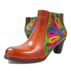 Flower leather high heel women's boots