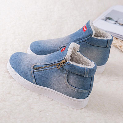 2019 new winter snow boots women's thicken denim shoes large size cotton flat shoes of  Korean version