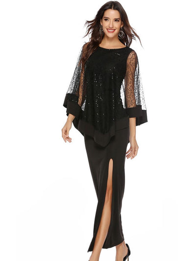 Sequined high waist slim long dress