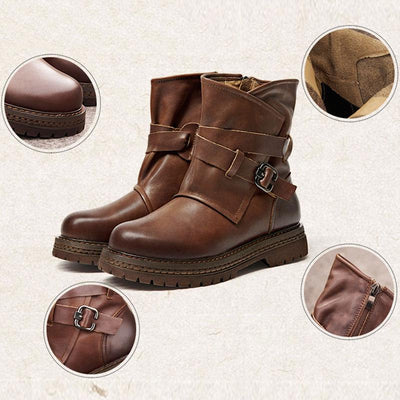 British Belt Buckle Round Toe Leather Chunky Heel Ankle Boots