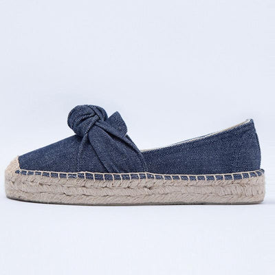Casual Linen Bowknot Round Toe Cotton Denim Slip-On Flats