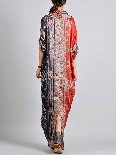 V-Neck Silk Floral Long Sleeve Cross Patchwork Maxi Dresses