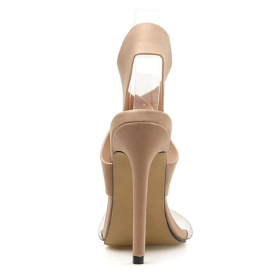Solid Color Sexy Cross Hollow Open Toe Stiletto Heel Ankle Strap Sandals