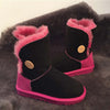 Medium tube frosted sheep fur and leather non-slip lightweight warm snow boots