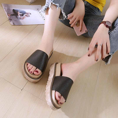 Wild one-word round head fashion solid color lazy shoes