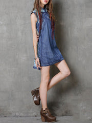 Vintage Stand Collar Embroidery Sleeveless Floral Buttons Split Denim Dresses