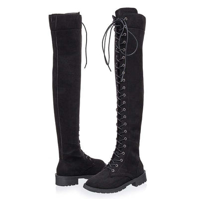 Autumn and winter new European over the knee strap flat boots women