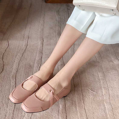 Wild leather casual retro thick heel small leather shoes
