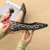 Slim pointed shallow mouth fashion leopard flat women's shoes