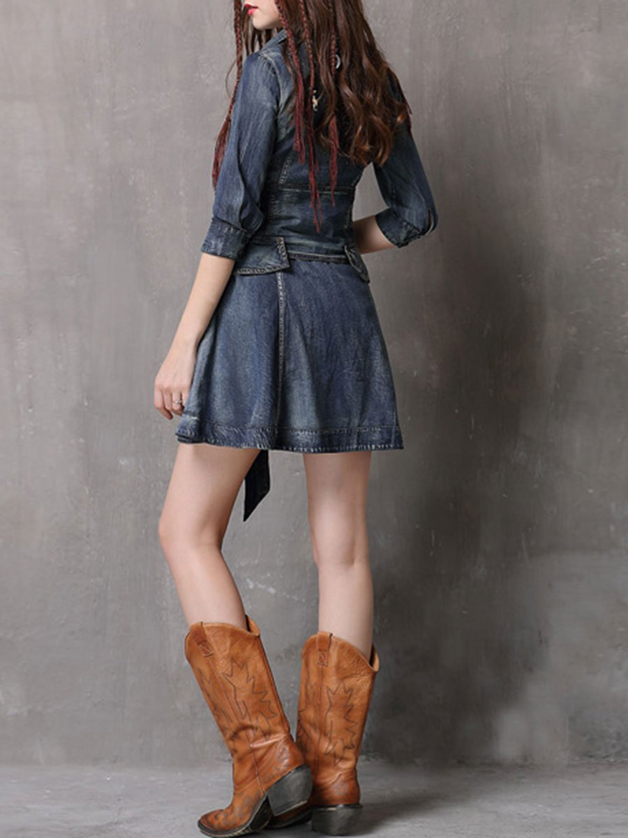 Bowknot Lace-Up Half Sleeve Turn Down Collar Pocket Denim Dresses