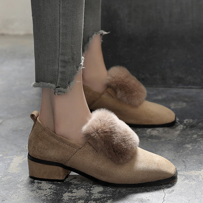 2019 autumn and winter large women's shoes fur shoes large size women's shoes square head thick high heels