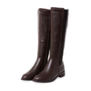 2019 new leather flat bottom high tube but knee women's boots 02