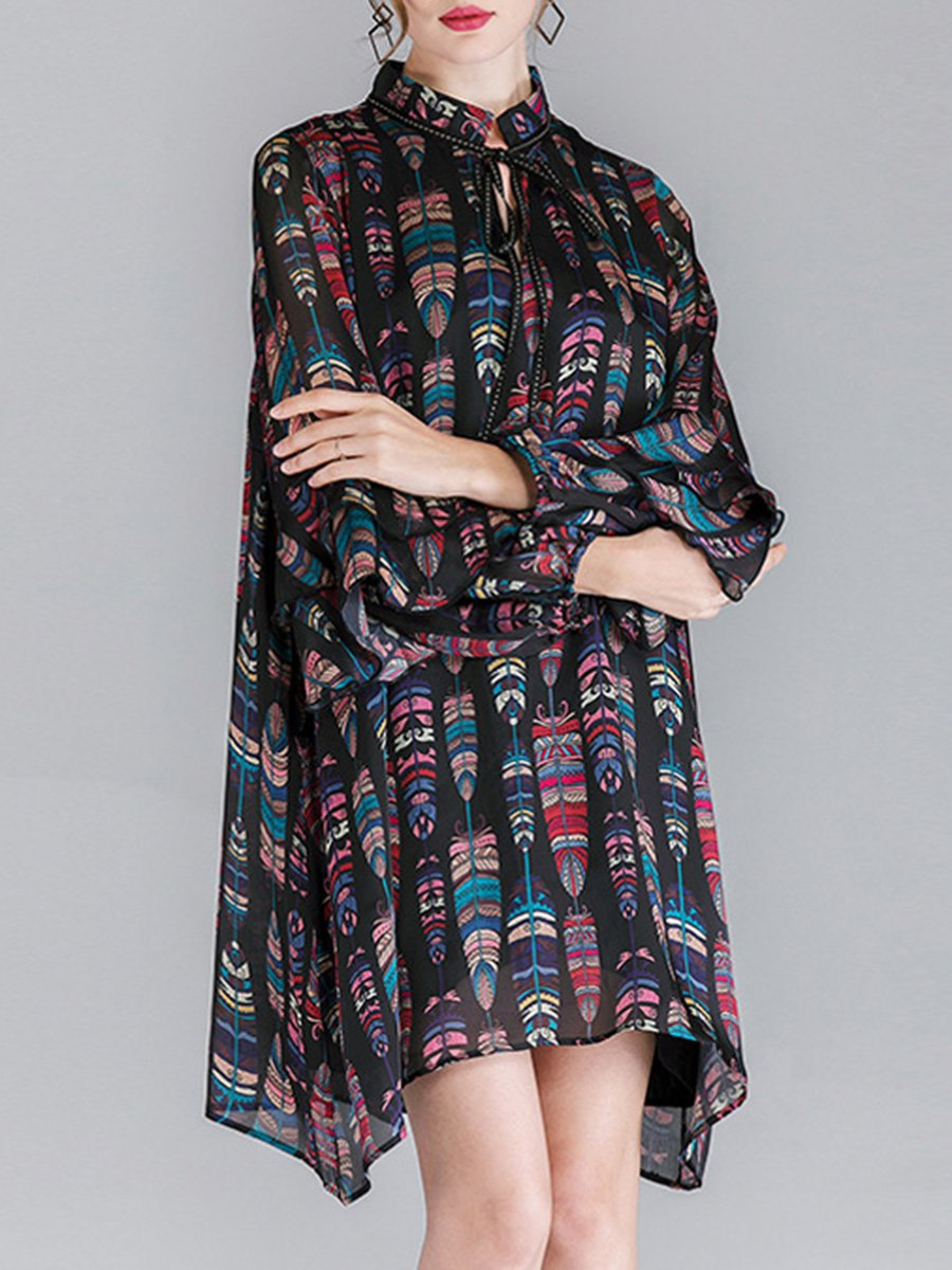 Loose Floral Ruffle Sleeve V-Neck Lace-Up Plus Size Casual Dresses