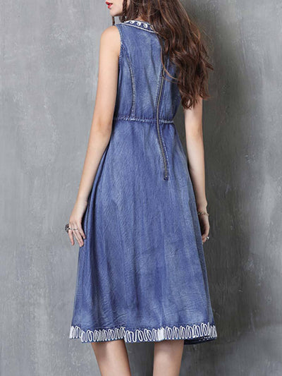 Round Neck Sleeveless Embroidery Lace-Up A-Line Denim Dresses