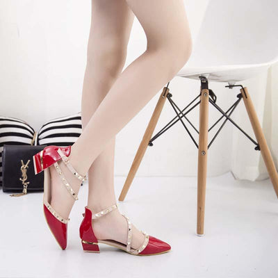 Patent leather rivet shoes