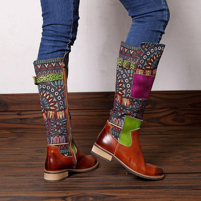 Color Block Embroidery Buckle Side Zipper Knee-High Leather Boots