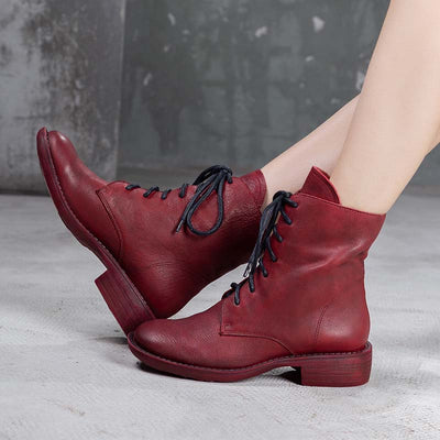 2019 autumn and winter solid color lace leather tube Martin boots
