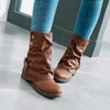 European and American style women's boots belt buckle anti-slip square heel low tube Martin boots