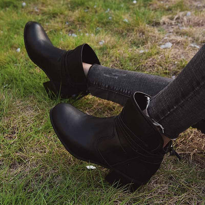 2019 autumn and winter new style straps thick women's boots