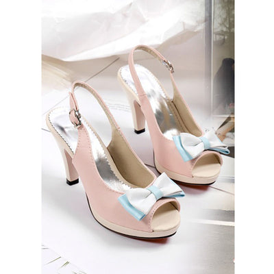 Princess fish mouth color matching bow stiletto sandals