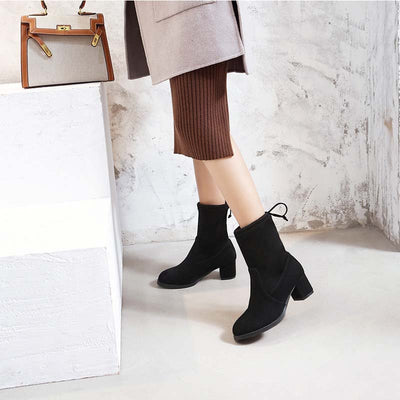 New short boots women's casual thick heel back tie velvet fashion Martin boots