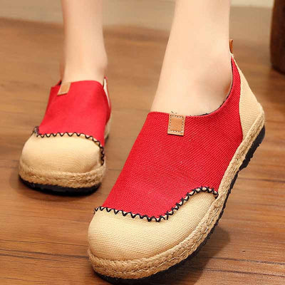 Round head linen and cotton color matching shallow mouth loafers