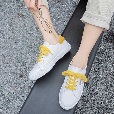 Round head flat strap leather white shoes