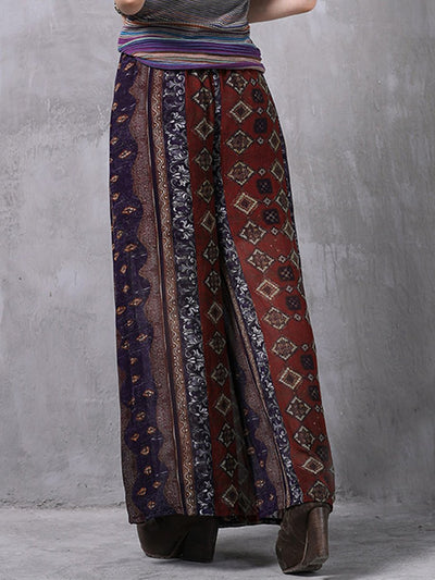 Bohemian Floral Cliffon Patchwork Lace-Up Wide Leggings Pants