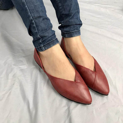 Art pointed leather casual comfortable women's shoes
