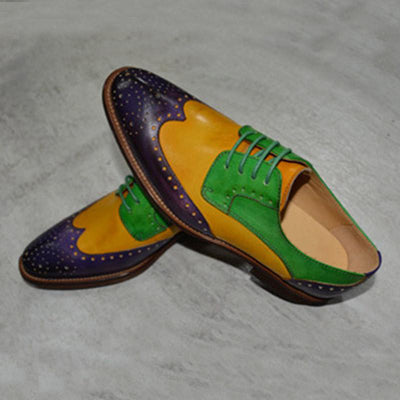 British Style Color Block Patchwork Lace-Up Leather Loafers