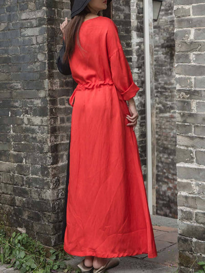 Color Block Lace-Up Round Neck Long Sleeve Ankle Length Linen & Cotton Dresses