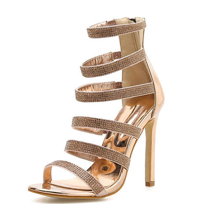 Rose Gold Rhinestones Hollow Open Toe Stiletto Heel Back Zipper Sandals