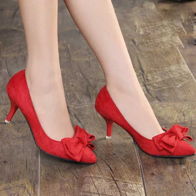 Fine toasted pointed red high heels