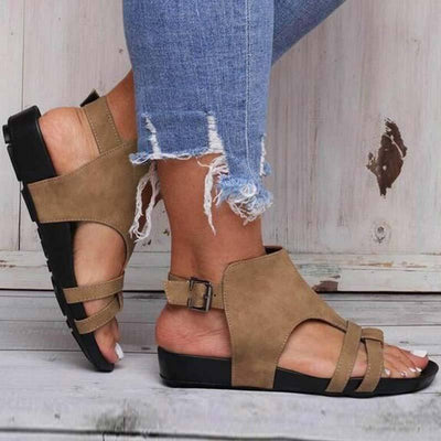 Hollow Solid Color Open Toe Buckle Plus Size Flat Heel Sandals