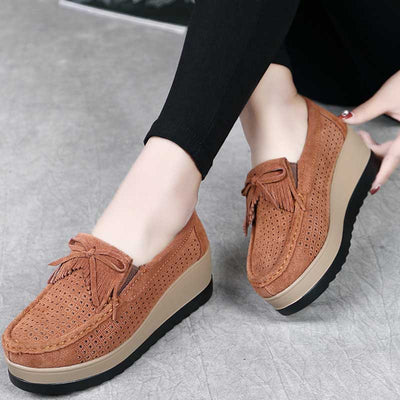 Leather sponge cake hollowed out thickening shoes