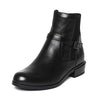 Leather buckled flat leather female Chelsea booties