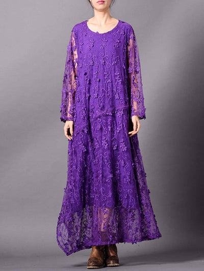 Solid Color Embroidery Long Sleeve Round Neck See-Through Lace Dresses