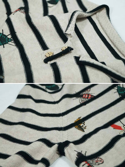Spider Stripes Embroidery V-Neck Buttons Long Sleeve Cotton Knitwear