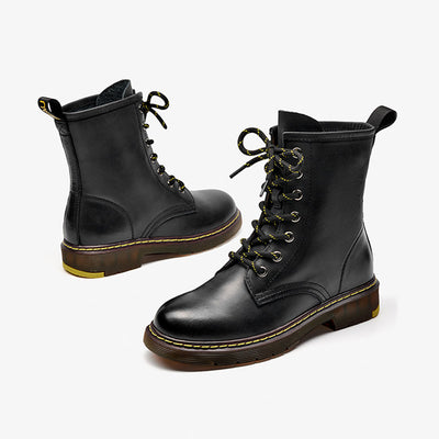 2019 new autumn and winter Martin boots female round head strap wild thick single boots female retro leather England tooling boots
