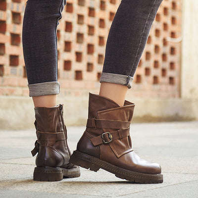 Autumn and winter new ladies leather handmade Martin boots