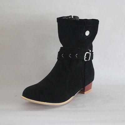 Casual women's boots scrub rivet side zip low heel boots