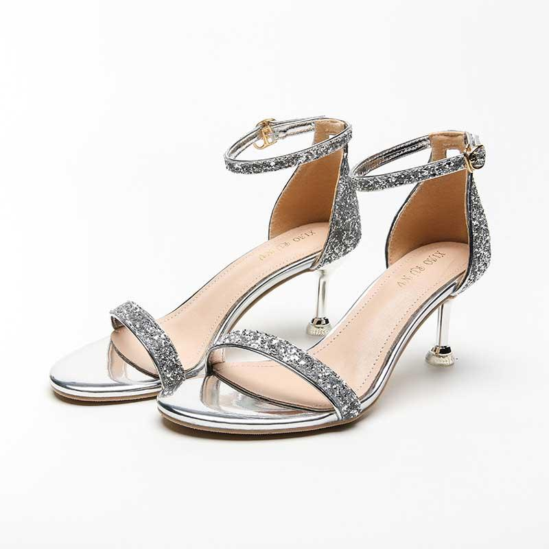 2020 summer new European and American sequined sexy thin heel round-toe women's sandals