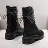 New England style autumn and winter plus velvet net red motorcycle boots thick bottom boots