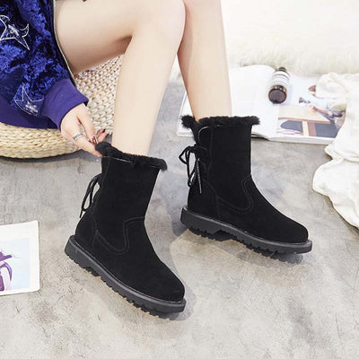 Winter new plus velvet casual back strap anti-skiing boots