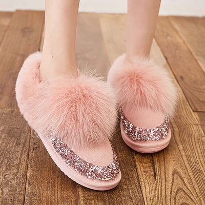 Snow boots female leather winter plus velvet new warm short tube thick cotton boots